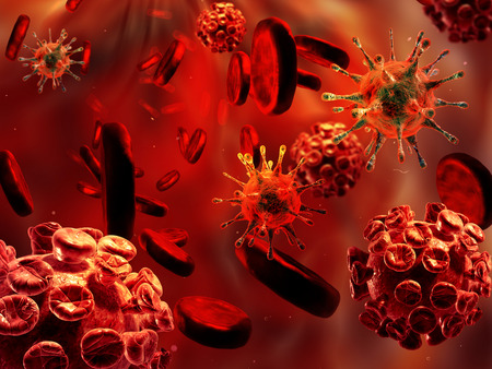 aids virus: Detailed 3d illustration of Viruses and blood cells.
