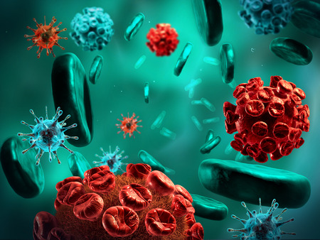 transmitted: Detailed 3d illustration of Viruses and blood cells.