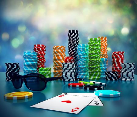 3D-Darstellung von Poker Chips, Sonnenbrille und Karten auf einem Spieltisch. Standard-Bild - 33254540