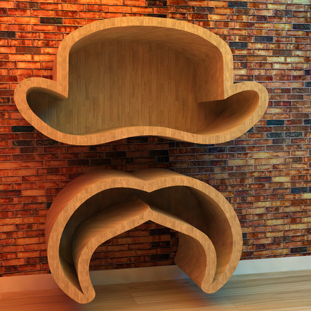 3d illustration of Bookshelf in shape of hat and mustache illustration