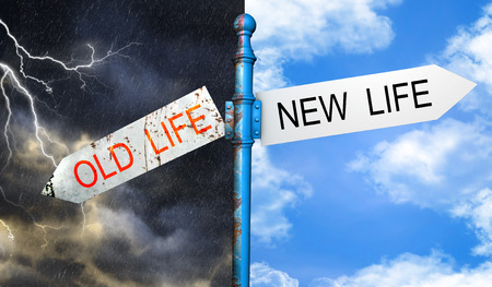 Illustration depicting a roadsign with a old life, new life concept. Stock Photo