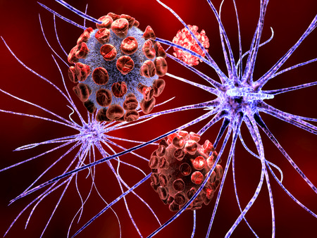 3d render of nerve cell attacked by virus, bacteria.