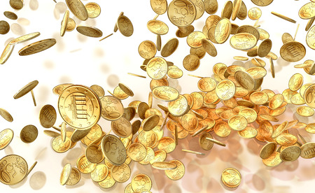 stockmarket: golden falling coins isolated on white background