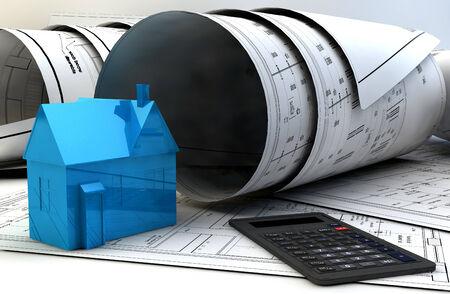 3D-Darstellung von Blueprints, Haus-Modell und Baumaschinen auf Architekt table.Construction Konzept. Standard-Bild