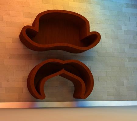 3d illustration of Bookshelf in shape of hat and mustache illustration