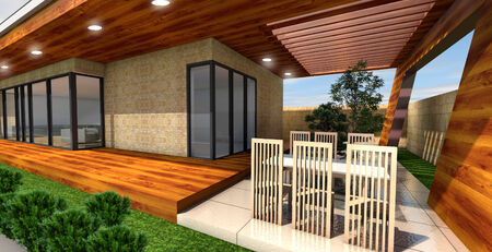 urban architecture: 3D rendering of modern house  terrace