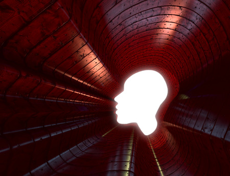 rn3d: Power of thinking, spirituality and imagination, futuristic concept with shape of a human head in concrete room Stock Photo