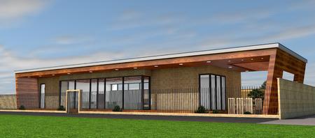 residential houses: 3D rendering of modern house