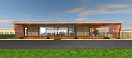 3D rendering of modern house photo