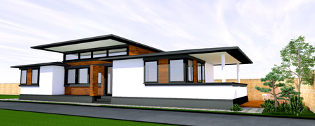 patio deck: 3D rendering of modern house