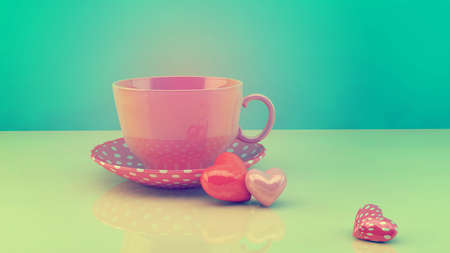 Retro vintage cup with hearts, concept for celebrating life events photo