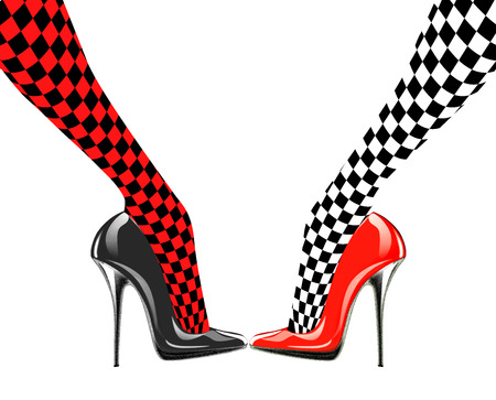 legs stockings: Icon womens shoe. High heels. Chess pattern. Abstract design.