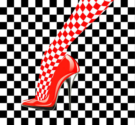 tacones rojos: Zapato Icono de la mujer. Los tacones altos. Patrón de ajedrez. Resumen de diseño Foto de archivo