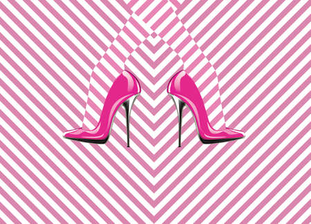 cinderella shoes: Icon womens shoe. High heels. Line pattern. Abstract design.