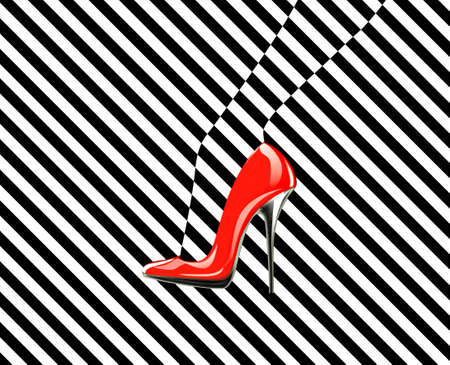 sexy black woman: Icon womens shoe. High heels. Line pattern. Abstract design.