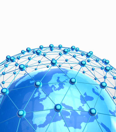 international news: 3d illustration of  Internet Concept of global business, global network , international networking concept Stock Photo