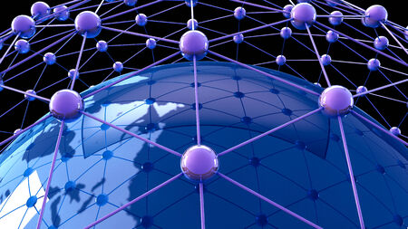 blue network: 3d illustration of  Internet Concept of global business, global network , international networking concept Stock Photo