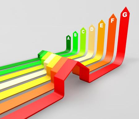 Energie-efficiëntie concept.Seven huizen gecertificeerd voor zeven energetische klassen in een bedrijf diagram. Stockfoto