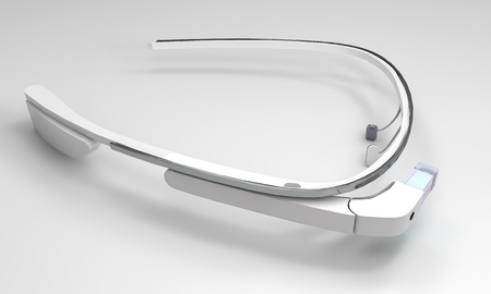 augmentation: 3D Illustration of a wearable computer technology with an optical head-mounted display