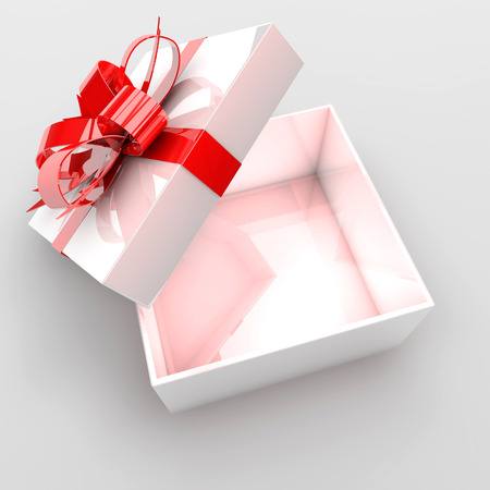 surprise gift: Open gift box with red bow.