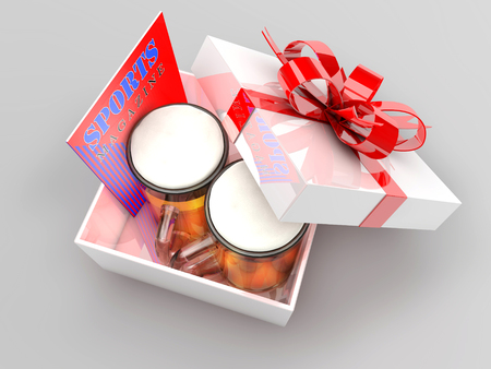 3d illustration of gift box with beer mugs and sports magazine, concept for bachelor party, fun holiday presents for men. Stock Photo