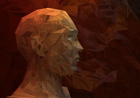 3 D 様式化された人間の頭、低ポリ、木製の 写真素材 - 37597026