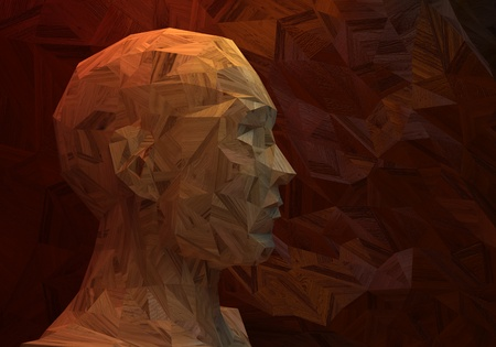 3D stylized man head, low poly, made of wood Stock Photo