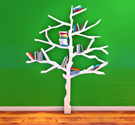 3d Render Of Tree Knowledge Bookshelf Stock Photo