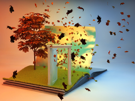 portals: 3D illustration of open book with tree on the page. Illustrated concept of autumn season