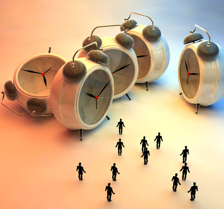 travel concept: 3d illustration of tiny people and alarm clocks, time passing concept