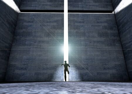 Cross with light shafts. Faith symbol. 3d person running photo