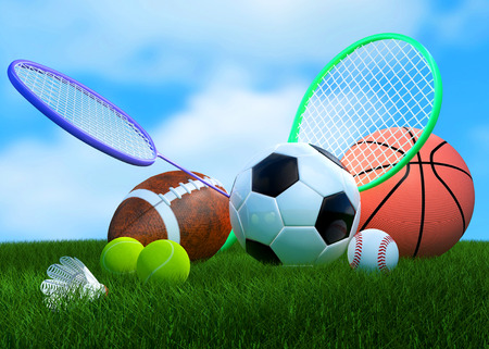 Recreation leisure sports equipment on grass with a football basketball baseball golf soccer tennis ball volleyball ,  badminton birdie as a symbol of healthy physical activity photo