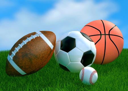 terrain de handball: Loisirs �quipements sportifs de loisirs sur l'herbe avec un terrain de soccer de basket-ball de football comme un symbole de l'activit� physique saine
