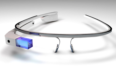 3D Illustration of a wearable computer technology with an optical head-mounted display