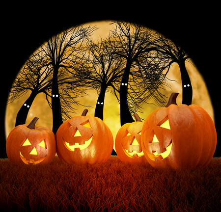 dark forest: A spooky scary blue Halloween background scene with full moon, pumpkins and dark forest Stock Photo