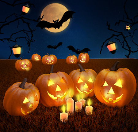 glowing carved: A spooky scary blue Halloween background scene with full moon, pumpkins and bats