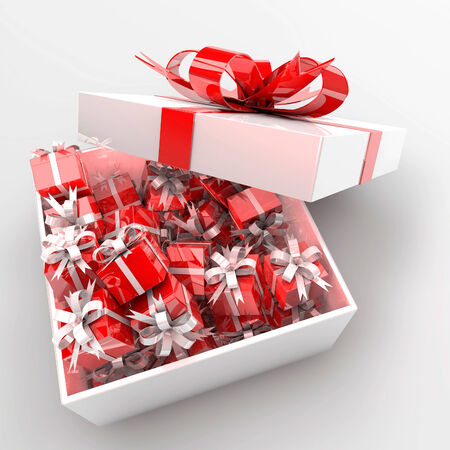 3d present box and hearts, birthday, anniversary, wedding, valentines day concept photo