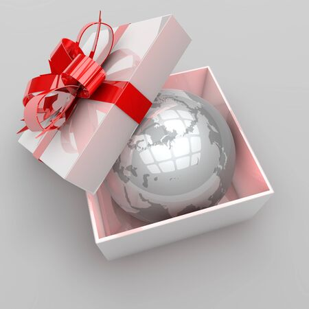 luxury travel: illustration of gift box with planet earth inside, concept for travel, tourism and holiday presents Stock Photo