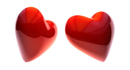 rn3d: 3d illustration of Red heart shape. Love symbol for Valentines day.
