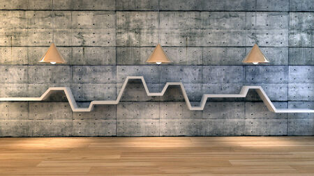 3d render of minimalist shelf over dramatic concrete background, modern art minimalist gallery concept. photo