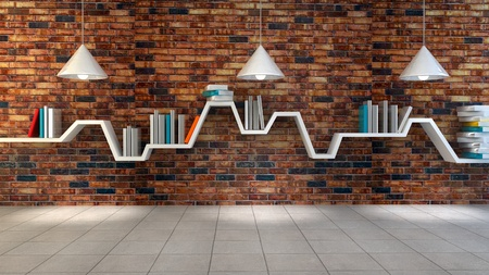 3d render of minimalist shelf over dramatic concrete background, modern art, minimalist design. Archivio Fotografico