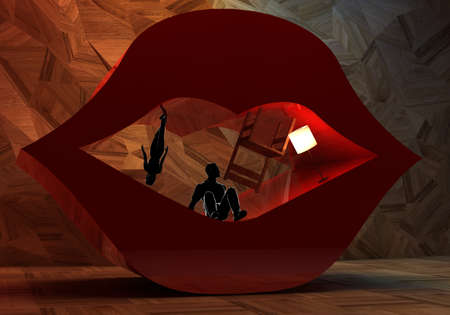 rn3d: Abstract surreal interior and couple into open lips stage set, concept for theater show Stock Photo