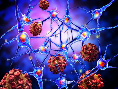 roda: 3d ilustraci�n de los virus que atacan a las c�lulas nerviosas, el concepto de Enfermedades Neurol�gicas, tumores y cirug�a cerebral.