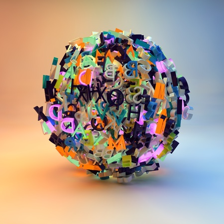 dyslexia: 3d render with letters forming a ball, symbolizing writing, reading, learning, education