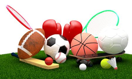 terrain de handball: Loisirs des équipements sportifs de loisirs sur l'herbe avec un ballon de basket de football tennis de ballon de football au volley-ball boîte de cricket de planche à roulettes de badminton baseball gants de golf, comme un symbole de l'activité physique saine