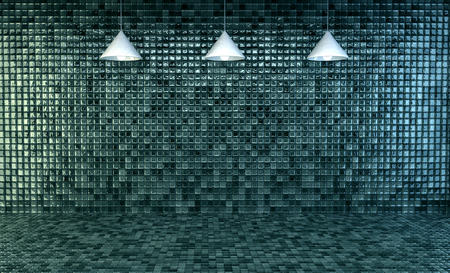 mosaic floor: 3d Illustration, Empty bathroom with mosaic tiles on wall and floor
