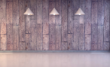 3d Illustration, wood wall and floor with lamps