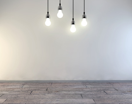 3d Illustration of clean white room with lamps