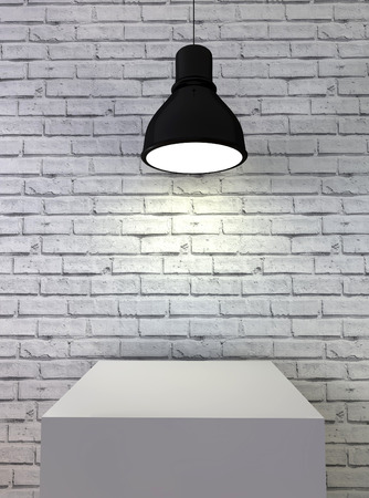 3d Illustration,white brick room with podium and lamp illustration