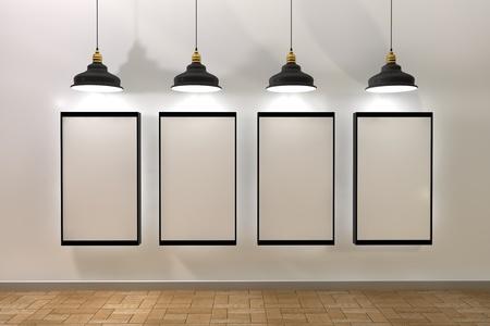 3d Illustratie, leeg frame affiches in kamer met plafondlamp